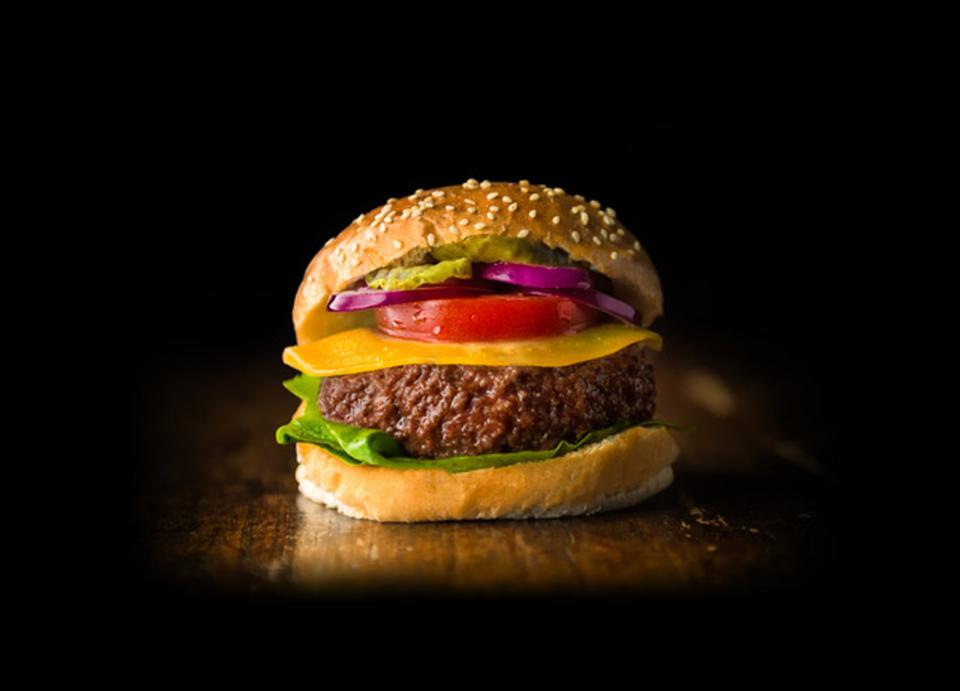 A hamburger made out of cultured meat by Mosa Meat.