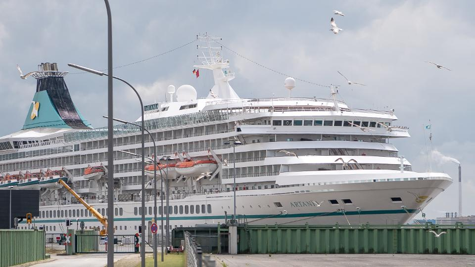 08 June 2020, Bremen, Bremerhaven: The cruise ship Artania docks at the harbour.