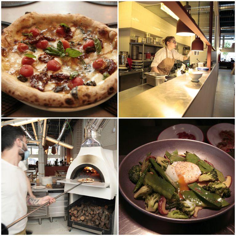 De izq. a dcha. y de arriba a abajo: pizza al horno del restaurante Mo de Movimiento; cocina vista del restaurante; el horno artesanal de leña; salteado de verduras de primavera