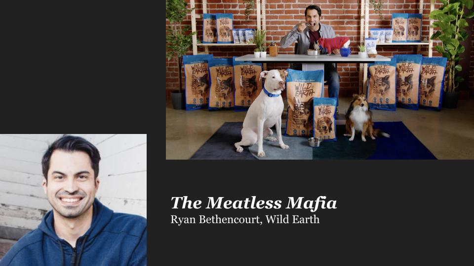 A white man in a blue sweatshirt smiling at camera and the same white man eating food with dogs and bags of dog food
